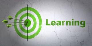 Het bestuderen van concept: doel en het Leren op muurachtergrond Stock Foto