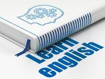 Het bestuderen van concept: het boekhoofd met Toestellen, leert het Engels op witte achtergrond Stock Foto