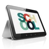 Het bestuderen van concept: Tabletcomputer met School op vertoning Royalty-vrije Stock Foto's