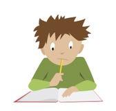 Het bestuderen van Jongen Student Reading Denkende schooljongen Royalty-vrije Stock Afbeeldingen