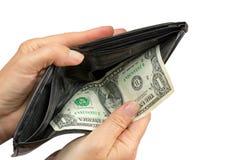 Het betalen door de laatste V.S. Één Dollar Bil Stock Fotografie