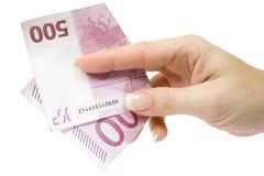 Het betalen van 500 Euro Stock Fotografie