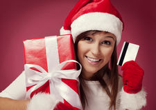 Het betalen voor Kerstmisgift Royalty-vrije Stock Foto