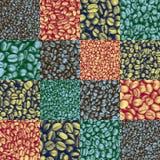 Het betegelde patroon van de koffieboon controleurs Stock Afbeeldingen