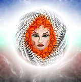 Het betoveren van vrouw met rood haar Abstracte tekening Royalty-vrije Stock Fotografie
