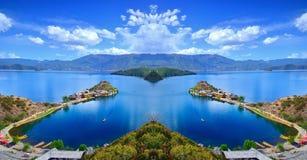 Het betoverende landschap van Lugu-meer Royalty-vrije Stock Foto's