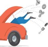 Het bevestigen van de mens auto Stock Afbeelding