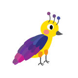Het bevindende kleurrijke karakter van het Vogelbeeldverhaal Royalty-vrije Stock Foto's