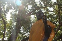 Het bevindende standbeeld van Boedha met zonnig licht Stock Afbeeldingen