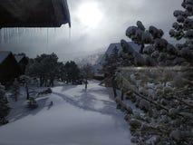 Het bevriezen van koude dag in Pyrennes stock afbeeldingen