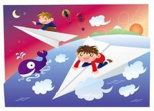 Het bevrijden op een document vliegtuig Stock Afbeeldingen