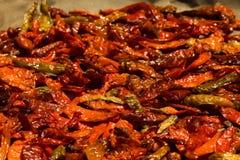 Het bewaren van Spaanse pepers Stock Afbeeldingen