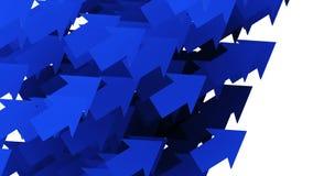 Het bewegen van blauwe pijlen op wit royalty-vrije illustratie