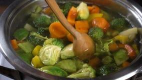Het bewegen van groentesoep met een houten lepel stock video