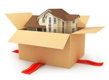 Het bewegen van huis Real Estate-Markt Driedimensioneel beeld Stock Afbeeldingen