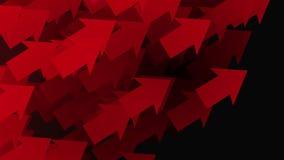 Het bewegen van rode pijlen op zwarte stock illustratie