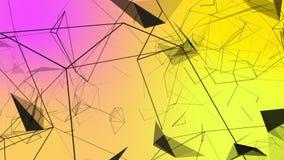 Het bewegen van zwarte lijnen op geel en roze stock videobeelden