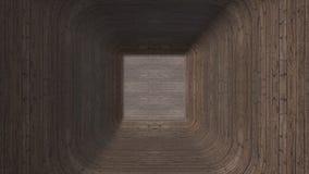 Het bewegen zich door 3d houten tunnel 3d tunnel van parket wordt gemaakt dat Tunnel met houten patroonachtergrond De achtergrond royalty-vrije stock foto