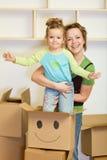 Het bewegen zich in een nieuw huisconcept Stock Foto's