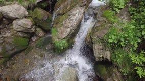 Het bewegen zich neer met water aan steen stock footage