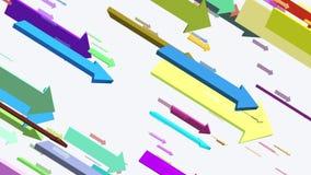 Het bewegen zich onderaan pijlen in diverse kleuren stock illustratie