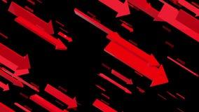 Het bewegen zich onderaan pijlen in rood op zwarte vector illustratie