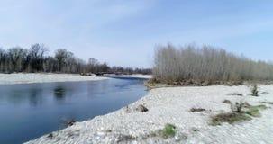 Het bewegen zich vooruit over rivierbed in de herfst of de winter Openlucht zonnig aard scape rivierbed dichtbij bos wilde antenn stock footage