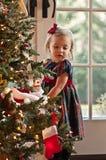Het bewonderen van de Kerstboom Stock Foto