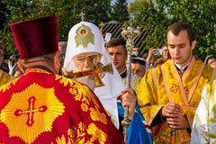 Het bezoek van de Patriarch van de Oekraïense Orthodoxe Kerk Kiev Stock Afbeeldingen