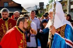 Het bezoek van de Patriarch van de Oekraïense Orthodoxe Kerk Kiev Royalty-vrije Stock Foto