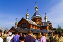 Het bezoek van de Patriarch van de Oekraïense Orthodoxe Kerk Kiev Royalty-vrije Stock Fotografie