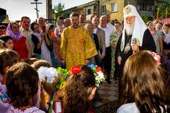 Het bezoek van de Patriarch van het Oekraïense Orthodoxe Patriarchaat Filaret van Kerkkiev in Transcarpathië Royalty-vrije Stock Foto