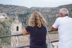 Het bezoeken van Sassi van Matera royalty-vrije stock afbeeldingen