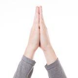 Het bidden geïsoleerd handengebaar Royalty-vrije Stock Foto's