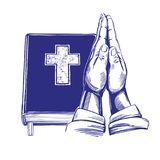 Het bidden Handen, Bijbel, evangelie, de doctrine van Christendom, symbool van Christendomhand getrokken vectorillustratie stock illustratie