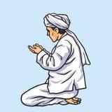 Het bidden in het Malplaatje Vectorillustratie van Ramadan Kareem Card en van de Banner Stock Foto