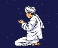 Het bidden in Ramadan Kareem met Sterren Lichte Achtergrond Kaart en Bannermalplaatje Vector illustratie Royalty-vrije Stock Fotografie