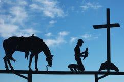 Het Bidden van de cowboy Royalty-vrije Stock Foto's