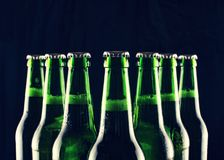 Het bier, flessen, koelde bier, het meest oktoberfest bierflessen, bar royalty-vrije stock fotografie