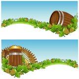 Het bier van de achtergrond vatmok bannerhop Stock Afbeeldingen