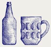 Het bier van de mok en van de fles vector illustratie