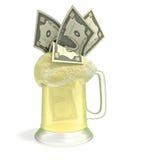 Het bier van het geld Stock Afbeeldingen