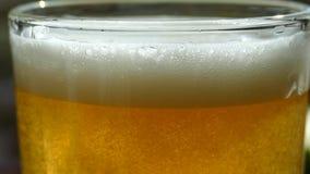 Het bier wordt gegoten in een glas Mooie bellenvlieg in een glas schuimend bier stock videobeelden