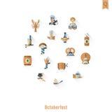 Het bierfestival van Oktoberfest De illustratie van de kleur Stock Afbeeldingen