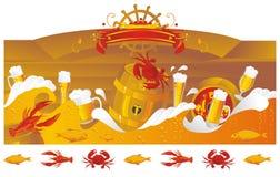 Het bieroverzees met biervaatjes Royalty-vrije Stock Afbeeldingen