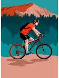 Het biking van de berg royalty-vrije illustratie