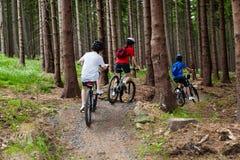 Het biking van de familie Stock Foto