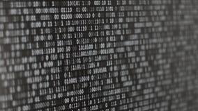 Het binaire codescherm stock video