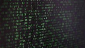 Het binaire codescherm stock footage