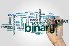Het binaire concept van de woordwolk op grijze achtergrond royalty-vrije stock afbeeldingen